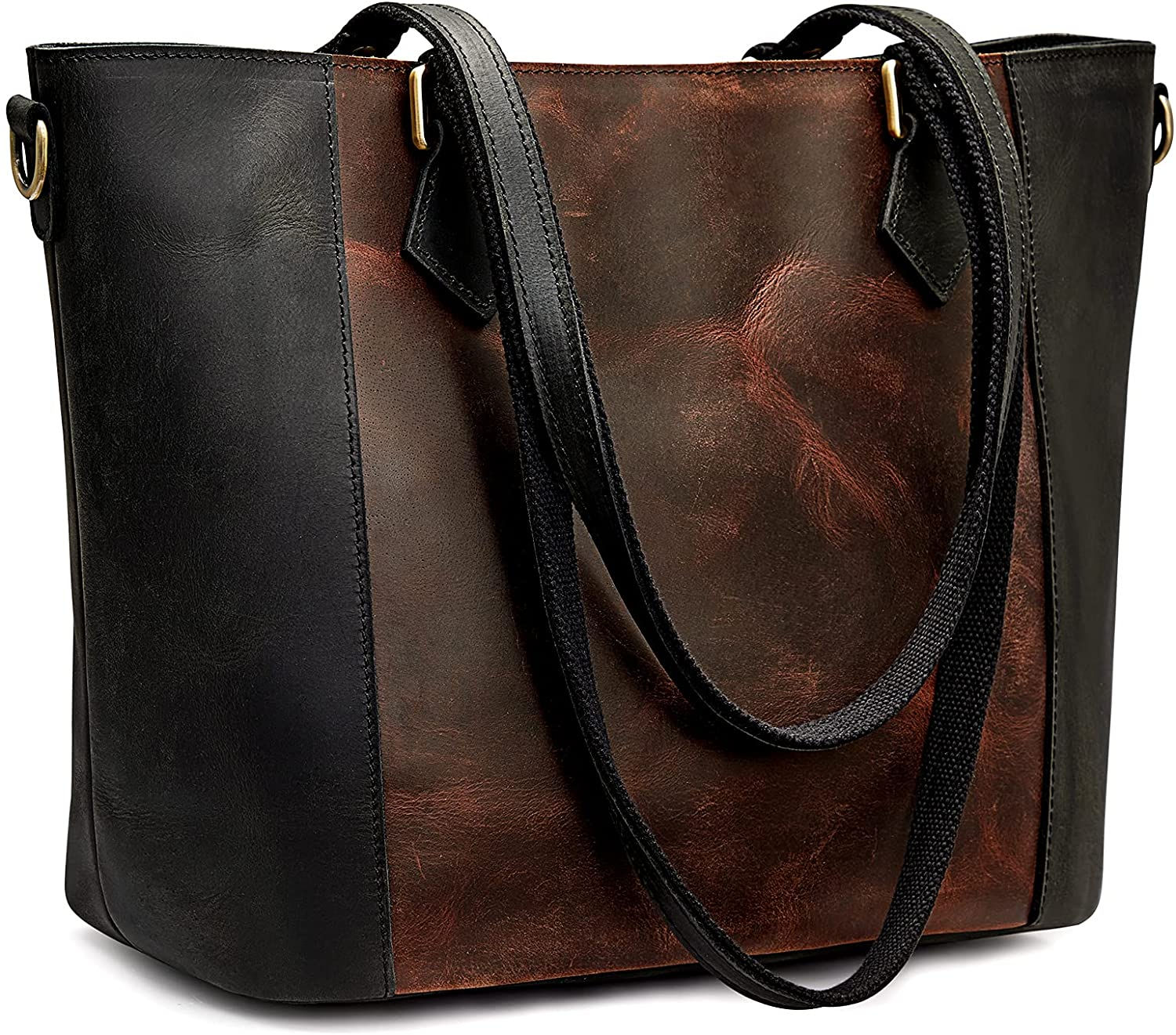 S-ZONE Women Vintage Genuine Leather Multicolor Gifts Shoulde Tote At the price of surprise Bag