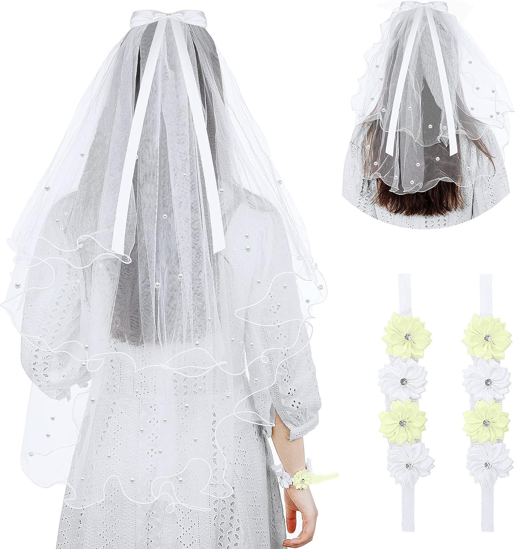 DECOHS 2 Pack Girls First Communion Veil with 2 Rhinestone Flower Wristbands,Girls White Communion Veil with White Lace Bow-knot for First Communion,Weddings