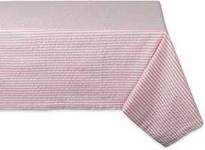 """DII Cotton Seersucker Striped Tablecloth for Weddings, Picnics, Summer Parties and Everyday Use, 60x84"""", Rose Pink and White"""