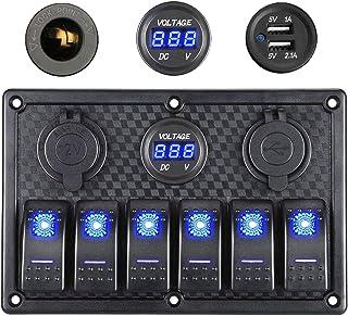 Thlevel Panel de Interruptores Basculantes a Prueba de Agua de 6 Pandillas, Pantalla de Voltaje Digital de 12 V / 24 V, En...