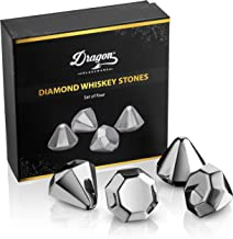 Dragon Glassware Diamond Whiskey Chilling Stones, Reusable Stainless Steel Ice Cubes for Colder Drinks, Gift Boxed - Set of 4