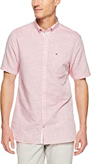 Tommy Hilfiger Men's Engineered Cotton Linen Short Sleeve Shirt