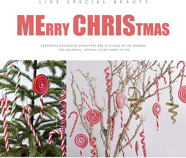 TATAFUN Bastoncini di Zucchero Rossi Rosso e Bianco Addobbi Albero di Natale Decorazioni Natalizi con Corda Dorata 12 PCS