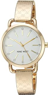 Nine West Women's NW/2102SVGB Crystal Accented Gold-Tone Bangle Watch