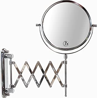 DecoBros 8-Inch Two-Sided Extension Wall Mount Mirror with 7x Magnification, 13.5-Inch Extension, Chrome