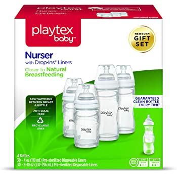 Playtex Baby Nurser Bottle Gift Set, with Pre-Sterilized Disposable Drop-Ins Liners, Closer to Breastfeeding
