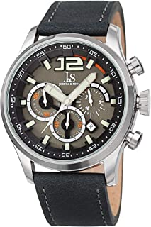 Joshua & Sons Men's Quartz Watch, Analog Display and Leather Strap Jx137Gy, Grey Band