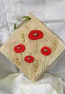 Le Ceramiche Del Re, Formella in Ceramica, 20 x 20, con Papaveri, Da Parete Ceramica Decorativa