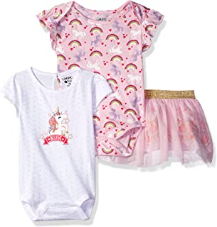 Baby Girl's 3 Piece Bodysuits and Tulle Skirt Set Pants