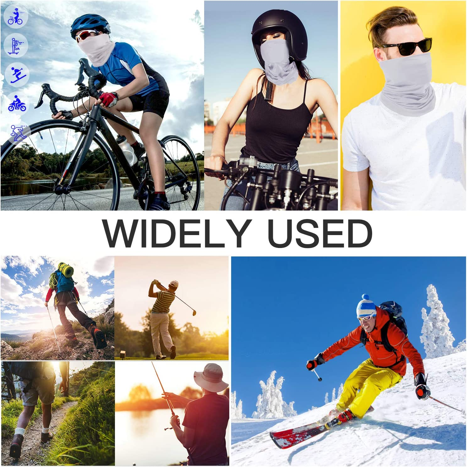 Face Cover Mask Sports Fan Headbands Reusable LUOWAN Summer Neck Gaiter Cooling Sun Uv Protection Bandana Dust Scarf Fishing Hiking Balaclava for Men Women