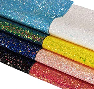 """8Pcs Chunky Glitter Material Sheet Canvas Backing Faux Leather Glitter Fabric 8""""x12"""