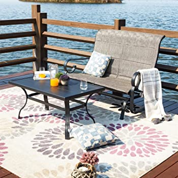 Patio Festival Outdoor Glider Seat,Patio Bistro Furniture Sets with Garden Rocking Seating for 2 Person,Loveseat and Sofa Table for Outdoor