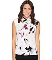 Calvin Klein - Sleeveless Print High Neck Blouse w/ Hardware