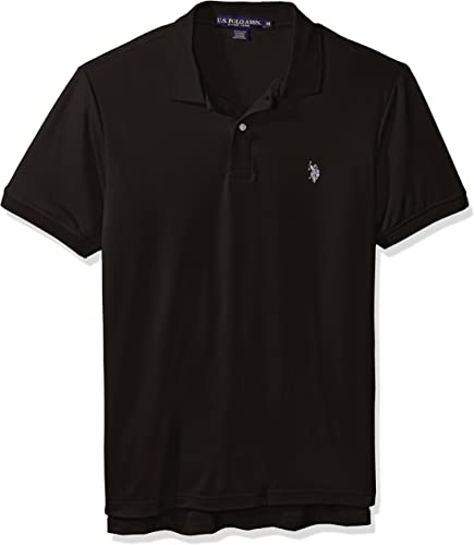 U.S. Polo Assn. Hommes's Solid Stretch Perforhommece Shirt, noir, petit