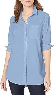 Goodthreads Amazon Brand Women's Lightweight Poplin Long-Sleeve Oversized Boyfriend Shirt, Light Blue Novelty Weave, X-Small