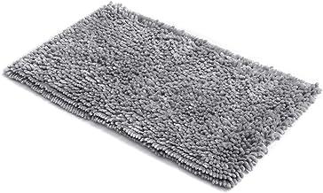 MICRODRY SoftGloss Shiny Absorbent Shag Chenille Memory Foam Bath Mat with GripTex Skid-Resistant Base (21x34, Chrome)