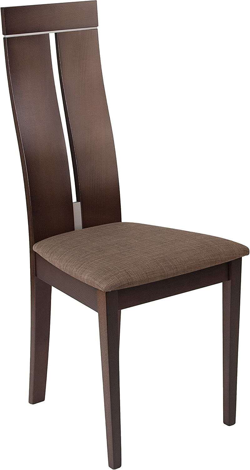 Flash Furniture Avalon Espresso Finish Wood Dining Chair with Clean Lines & golden Honey Brown Fabric Seat