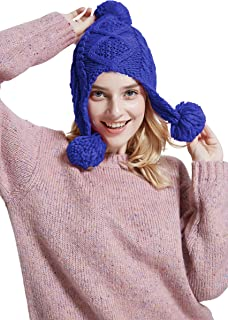 Moss Rose Women Knit Cable Beanie Hat with Pom Pom and Ear Flaps