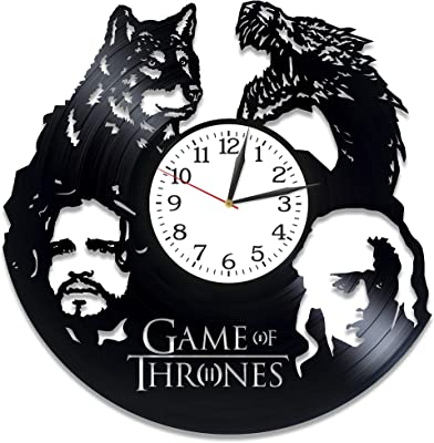 Kovides Jon Snow and Daenerys Art Xmas Gift Idea for Girl Game of Thrones Room Art Lp Vinyl Retro Record Wall Clock Vintage Birthday Gift for Man Game of Thrones Clock Serial Art Wall Clock Large