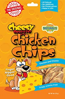 Cheesy Doggie Chicken Chips   Dog Treats Made in USA - 4 oz 100% Chicken