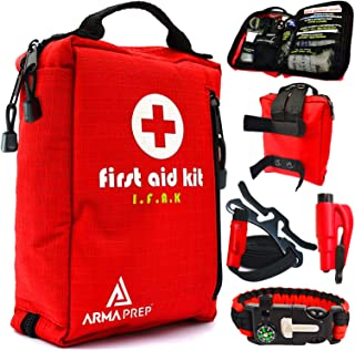 Compact First Aid Kit - IFAK Medical Kit with Labeled Compartments, MOLLE & Survival Tools - Small First Aid Kit for Boat Car Camping Hiking Travel & Backpacking