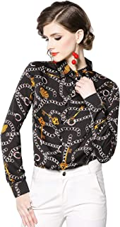 Camisas para Mujer, Manga Larga Botón Blusas Cadena Estampado Mujer Casual Tops
