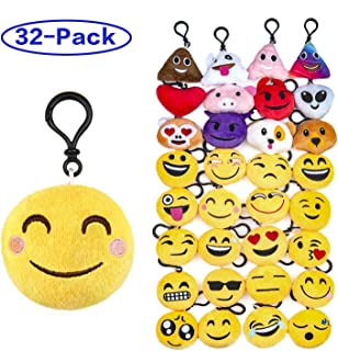 """Olicity Emoji Keychain, Emoji Party Favors Mini and Cute Plush Pillows, Emoji Party Supplies for Kids Christmas, Birthday, Classroom Rewards, 2"""" , Pack of 32"""
