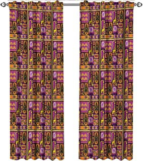shenglv Oriental, Curtains Panels, African Illustration with Mask Giraffe and Geometric Shapes Rhombuses and Circles, Curtains for Girls Bedroom, W96 x L108 Inch, Multicolor