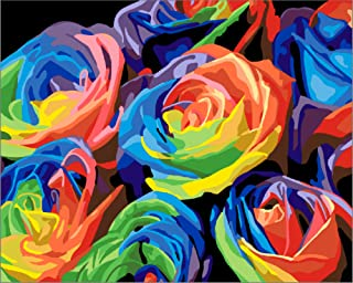 Paint by Numbers for Adults: Beginner to Advanced Number Painting Kit - Fun DIY Adult Arts and Crafts Projects - Kits Include 16 x 20 Inch No Wrinkle Canvas (Colorful Roses)
