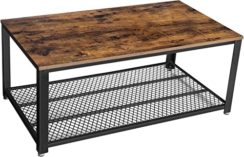 VASAGLE Industrial Coffee Table with Storage Shelf for Living Room, Wood Look Accent Furniture with Metal Frame, Easy...