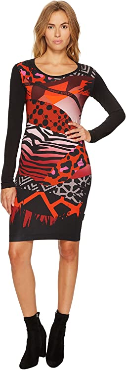 Versace Jeans - Printed Long Sleeve Scoop Neck Dress