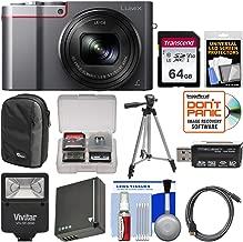 Panasonic Lumix DMC-ZS100 4K Wi-Fi Digital Camera (Silver) with 64GB Card + Case + Flash + Battery + Tripod + Kit