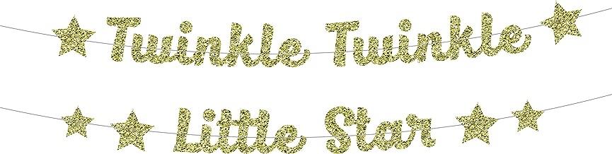 Twinkle Twinkle Little Star Banner in Gold Glitter for Baby Shower (DIY)