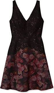 Adrianna Papell Women's Halter Cut Lace Top Fit and Flare