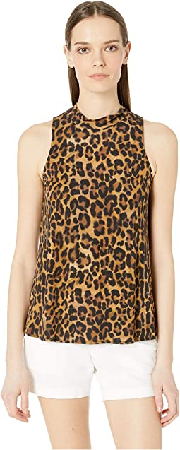 Furry Leopard Jersey Turtleneck Top