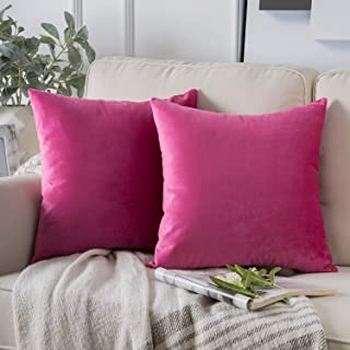 Phantoscope Pack of 2 Velvet Decorative Throw Pillow Covers Soft Solid Square Cushion Case for Couch Pink 18 x 18 inches 4...