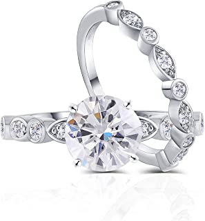 DovEggs Sterling Silver Center 1.5ct 7.5mm G-H-I Color Arrows Heart Cut Moissanite Engagement Wedding Ring Set Bridal Set 2 Pieces