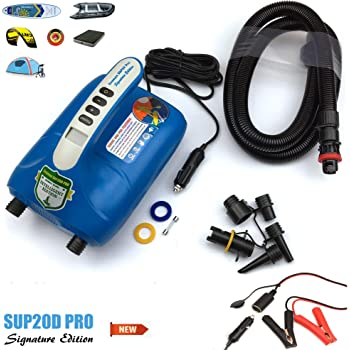 Seamax SUP20D 20PSI Double Stage Electric Air Pump for Inflatable SUP and Boat, New Version Intelligent Firmware with Built-in Temperature Sensor and Voltage Protection