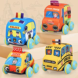 TOY Life Soft Pull Back Cars for Toddlers - Pull Back Vehicles Soft Baby Toys - Kids car Toys 4 Pack with Soft Plush Toy T...