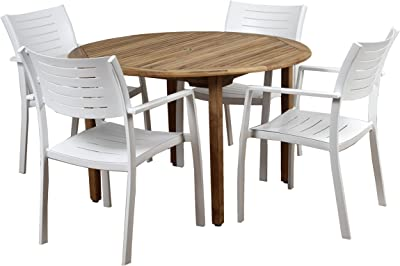 Brampton 5 Piece Outdoor Teak/Aluminum Round Dining Set | Perfect for Patio | with White Chairs