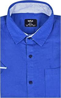 ESTILO Casual Linen Cotton Shirt for Men Solid Blue