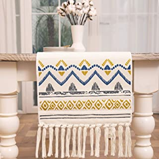 "Midsummer Breeze Moroccan Table Runner 14""x72"" inch-Washable Cotton Woven Printed Side Table Runners Dresser Scarves -Bohe..."