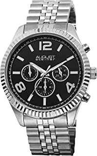 August Steiner Men's Swiss Coin Edge Bezel Watch - Black Dial with Day of Week, Date, and 24 Hour Subdial on Stainless Ste...