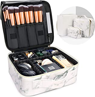 Luxtude Leather Travel Makeup Train Case, Waterproof Makeup Bag Cosmetic Case Organizer, Large Cosmetic Makeup Case with A...