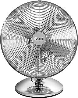 Gotoll Ventilador de Sobremesa Mental,35CM 40W|Oscilación Automática de 90°|3 Velocidades|Ángulo de Inclinación 15°,Ventilador de Mesa Plata