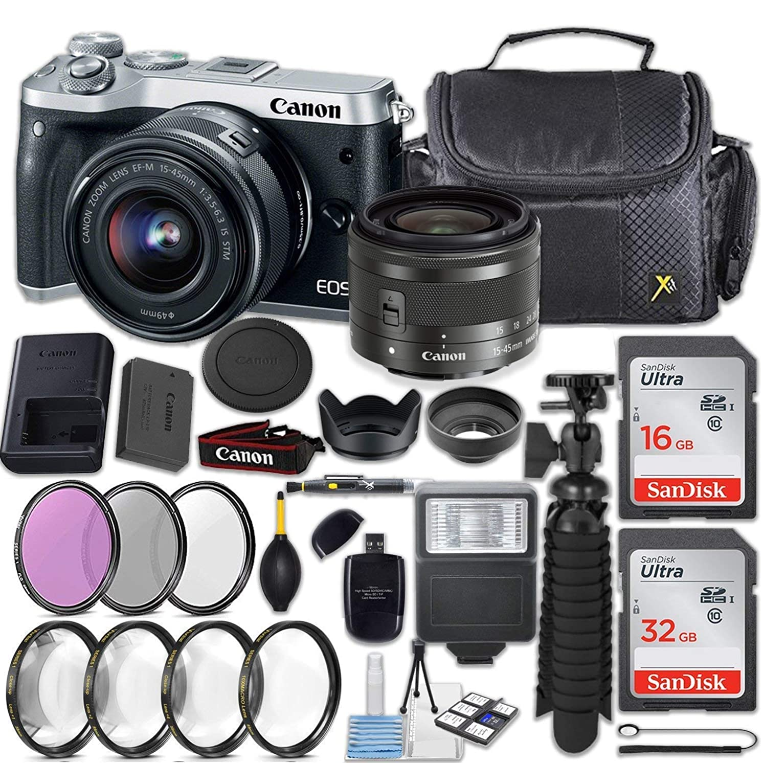 Canon EOS M6 24.2MP Mirrorless Digital Camera (Silver), EF-M 15-45mm f/3.5-6.3 is STM Lens (Silver) + 48GB + Filters & Macros + Spider Tripod + Slave Flash and Accessory Kit