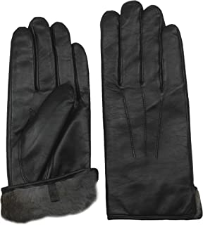 Men's Rabbit Fur Lined Sheepskin Leather Gloves by Arosa   Butter Soft Luxurious