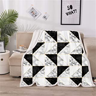 A Nice Night Super Warm Sherpa Fleece Blanket Twin Size Plush Throw Blanket Fuzzy Soft Blanket Microfiber (Marble-Triangle, Twin(60x80 Inch))