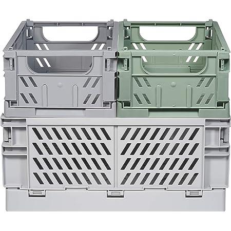 Kindsgut Lot de caisses de rangement pliables en plastique, plus d'ordre dans des couleurs subtiles et un design simple, empilable, Luis