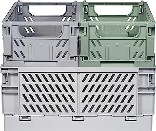 Kindsgut Lot de caisses de rangement pliables en plastique, plus d'ordre dans des couleurs subtiles et un design simple, e...